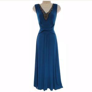 Size Large▪️SEXY JEWELED NECKLINE TEAL MAXI DRESS
